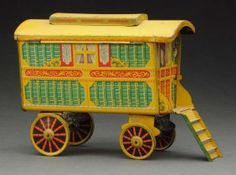 English Tin Litho Gypsy Caravan Biscuit Tin...take 2 with your cuppa........