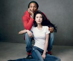 Pharrell and Angelababy for GAP  Photo by: Annie Leibovitz