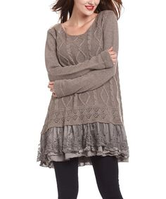 Look at this #zulilyfind! Khaki Lace-Trim Tunic by Simply Couture #zulilyfinds