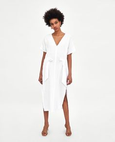 2b8abbb03506 Image 1 of LINEN DRESS WITH TIED BOW from Zara Stile Di Vacanza Estiva