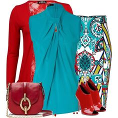 Love this teal and RED outfit. Classy Outfits, Stylish Outfits, Work Fashion, Fashion Design, Fashion Trends, Fashion Beauty, Jw Mode, Looks Chic, Complete Outfits