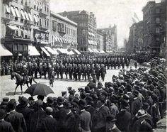 Police Parade, 1899. Bowler hats, hardly any women.