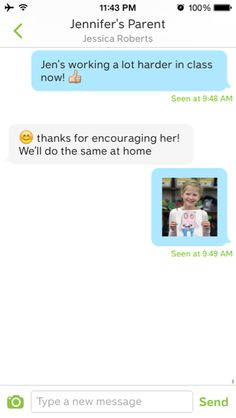 Class Dojo Messenger. Instant messaging for parents/teacher, but without sharing contact information.