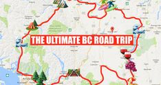 This Map Will Take You On The Most Epic Road Trip Through BC Anyone's Ever Been On - - Your guide through the province. Cross Canada Road Trip, Canada Trip, Places To Travel, Places To Go, Road Trip Map, Best Road Trips, Canadian Travel, Canadian Rockies, Travel Usa