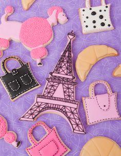 Paris Themed decorated sugar cookies- eiffel tower, purse, croissant, pink poodle.