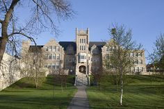 """Port Arthur Collegiate Lakehead University in Thunder Bay, Ontario.  Built in 1909 with Simpson Island Stone, medieval and Flemish architecture features.  We supplied our North Country Unfading Black, 18"""" x 10"""" x 1/4"""""""