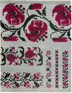 Cross Stitch Borders, Cross Stitch Flowers, Knitting Patterns Free, Free Pattern, Cross Stitch Embroidery, Hand Embroidery, Needlepoint, Tapestry, Costumes