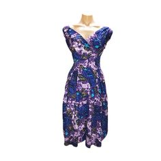 54bd180689d Emily   Fin - Florence Dress in Purple Floral Pockets Wrap style V neck Cap  sleeves