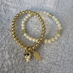 gold/cream pearl Bracelets Primark by thedailynailblog - Snupps