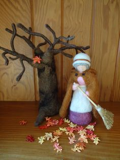 February ~ Mrs. Thaw ~ Needle Felted ~ This looks like an Autumn scene, but she could just as easily be sweeping away the snow.