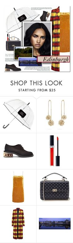 """How to Style a Gold Velvet Dress with a Plaid Coat and Derby Shoes for Travel to Edinburgh, Scotland this Fall"" by outfitsfortravel ❤ liked on Polyvore featuring Kate Spade, Rosantica, Nicholas Kirkwood, Christian Dior, Topshop, Valentino and Acne Studios"