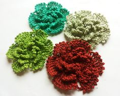 Thread crochet flowers 2.3 inches 4pcs. green by Fiscraftland