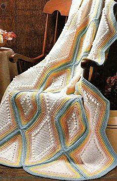 Vintage Crochet Popcorn and Pastel Diamond Strip Geometric Vintage Crochet Patterns, Crochet Patterns For Beginners, Afghan Crochet Patterns, Crochet Afghans, Crochet Blankets, Baby Blankets, Fabric Yarn, Crochet Pillow, Yarn Colors
