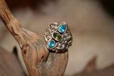 Blue Topaz and Peridot silver ring by WenJammerCreations on Etsy, $32.00