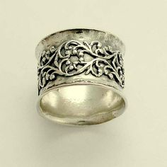 Gold lace band Wide sterling silver oxidized door artisanimpact