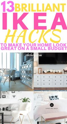Amazing IKEA Hacks to Make Your Home Look stunning on a small budget. Transform your bedroom, living room or kitchen with these clever and simple IKEA hacks. Hacks for dresser, bookshelves and storage closet. These hacks also include tips for your mud Ikea Hacks, Ikea Hack Storage, Hacks Diy, Home Decor Hacks, Cheap Home Decor, Diy Home Decor, Decor Ideas, Room Ideas, Bedroom Hacks