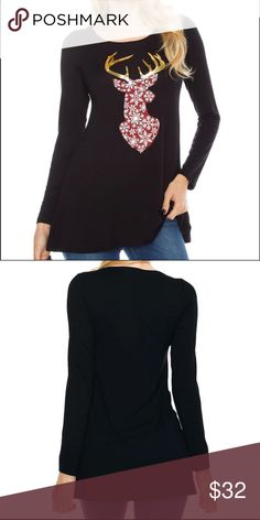 💥Just In-New Item Long Sleeved Holiday Top New Long Sleeved Holiday Top.  This top is super soft and comfortable, festive but not overdone and a wonderful length.  Sleeve Length(cm)Full                              Collar                      O-Neck Clothing Length        Long Material                      Cotton,Polyester Color                      Black The top is new and will come individually packaged for you.  If you have any questions please don't hesitate to ask!!!  Thank you…