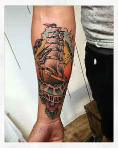 Neo traditional pirate ship !   #ink #tattoo #neotraditional…