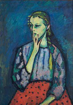 Portrait of a Girl Alexei Jawlensky 1909  Alexej Georgewitsch von Jawlensky was a Russian expressionist painter active in Germany. He was a key member of the New Munich Artist's Association (Neue Künstlervereinigung München), Der Blaue Reiter (The Blue Rider) group and later the Die Blaue Vier (The Blue Four).