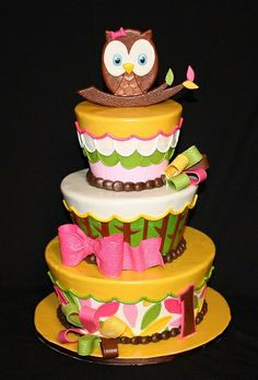 little girls, little girl birthday, idea, 1st birthdays, owl cakes, owls, parti, baby showers, birthday cakes