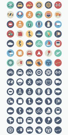 Our Flat Icons Collection Just Got Even Better With 42 New Transportation Icons | After getting such a great response from our first round of circular flat icons, we decided to keep growing the collection! We have added a set of transportation themed icons and will continue to add to the pack. The icons come in two sets: full color and single color and they come in .ai, .eps, .pdf, and .png (64px and 128px).