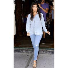 Rails Carter Tencel Button Down in Light Vintage Wash as seen on Kourtney Kardashian