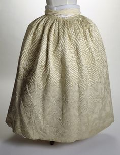 """""""White underskirt or petticoat. Quilted silk petticoat made of wool and cotton with a border of floral pattern.     Date  1771 AD - 1780 AD """"  http://www.museumoflondonprints.com/image/141610/white-underskirt-or-petticoat-18th-century"""