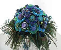 Felt Flower Peacock Bouquet- By Jamball