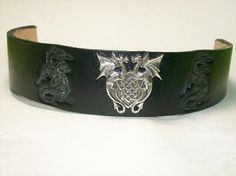 Black Leather Cuff Bracelet with Dragon Concho by legacyleathercraft,     Only $18.95