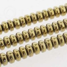 Hematite Rondelle 4mm - Gold Plated Metallic Pink, Stone Beads, Natural Stones, Plating, Colours, Shapes, Gold, Yellow