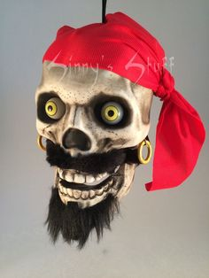 animated pirate skull hanging talking halloween prop skeleton light up w video - Talking Skull Halloween
