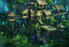 Image detail for -rainforest-tree-house. Fantasy Village, Fantasy City, Fantasy Castle, Fantasy House, Fantasy Places, Fantasy World, Fantasy Trees, Fantasy Art Landscapes, Fantasy Drawings