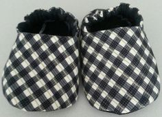 Black White and Green Plaid Baby Boy Slipper by DumaisDesigns, $17.25
