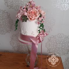 Romantic, floral wedding cake with handmade sugar flowers and a pretty pink bow Sugar Flowers, How To Make Cake, Cake Designs, Floral Wedding, Pretty In Pink, Wedding Cakes, Bow, Romantic, Desserts