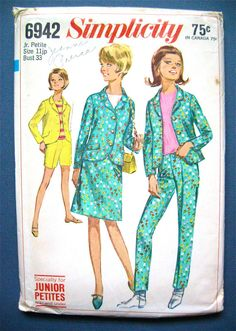 Vintage 1960s sewing pattern Simplicity 6942  Mod 60s Slim Pants Jacket Shorts  Bust 33