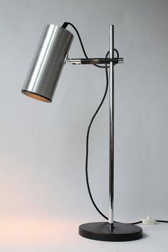 Rare Maria Pergay Table Lamp with Milled Aluminium Shade, 1968, France | From a unique collection of antique and modern table lamps at https://www.1stdibs.com/furniture/lighting/table-lamps/