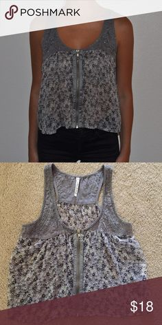 Gray Zip Up Tank Top with Flower Pattern Gray tank top with dark gray and white flowers, silver sequins on the top, silver, zipper, great condition Nordstrom Tops Tank Tops