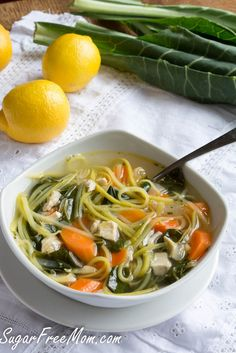 Lightened Up Chicken Kale Zoodle Soup (Low Carb & Gluten Free) Veggetti Recipes, Zoodle Recipes, Spiralizer Recipes, Soup Recipes, Dinner Recipes, Cooking Recipes, Biscuits Keto, Chicken Zoodle Soup, Keto Chicken