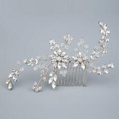 Wedding hair comb, Silver Hair comb, Leaf Hair comb, Wedding hair comb, Bridal hair comb, Hair comb, Bridal Hair Chain, Swarovski hair comb