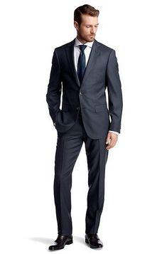 44c7abe576b Hugo Boss Selection Gilbert Tower Black Navy Charcoal Gray Suit 38 40 42 44  44L