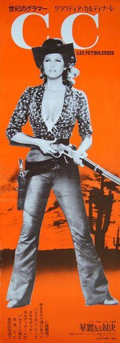 Claudia Cardinale, movie poster for Les pétroleuses (1971)  Source: Pulp International