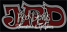 JRD Red Devils School Initials  Knockout Outlined in Rhinestones Mixed Media Pattern Instant Download SVG EPS Cutting file by RhinestoneandGraphic on Etsy