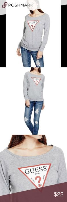 Guess triangle logo sweatshirt NWT Guess triangle logo french terry sweatshirt, off shoulder and super cute.  Size small.  In perfect condition.  Brand new with tags and never worn. Perfect holiday gift or something to wear all fall and winter season! Guess Tops Sweatshirts & Hoodies