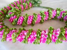 The lei is approximately 36 inches long material/rickrack ribbon,organza ribbon Custom sizes, color available for you. Just contact me.