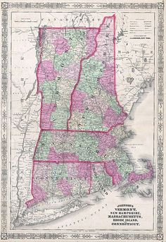This magnificent 1864 hand colored map of the New England states of Vermont, New Hampshire, Massachusetts, Rhode Island, and Connecticut. Map is dated and copyrighted 1864. File:1864 Johnson's Map of New England (Vermont, New Hampshire, Massachusetts, Rhode Island and CT) - Geographicus - VTNHMACTRI-j-64.jpg - Wikimedia Commons