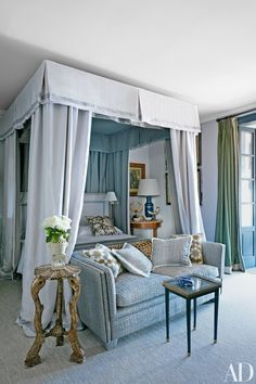 In designer Lorenzo Castillo's seaside Spanish villa, the French doors in the master bedroom are curtained in a Loro Piana Interiors cashmere, and the vintage David Hicks love seat is upholstered in a Rubelli tweed. Beautiful Sofas, Beautiful Bedrooms, H Design, House Design, Design Ideas, Home Bedroom, Bedroom Decor, Master Bedrooms, Bedroom Ideas
