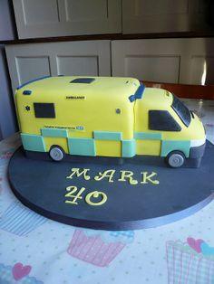 Ambulance cake (flashing lights siren) Mr Crumbs Cakery,(wibsey) Ambulance Cake, 24th Birthday, Birthday Cakes, Paramedic Quotes, Just Cakes, Novelty Cakes, Emergency Vehicles, Celebration Cakes, Cake Designs