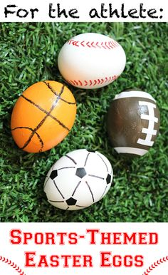 Egg Decorating Ideas: Sports-Themed Easter Egg for the Sports lover. How adorable are these eggs? Cool Easter Eggs, Easter Egg Crafts, Easter Egg Competition Ideas, Theme Sport, Easter Egg Designs, Egg Art, Easter Celebration, Egg Decorating, Easter Party