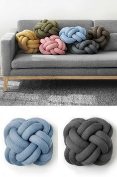 23 Clever DIY Christmas Decoration Ideas By Crafty Panda Knot Cushion, Knot Pillow, Heart Pillow, Diy Pillows, Decorative Pillows, Diy Couch, Couch Cushions, Laine Chunky, Craft Ideas