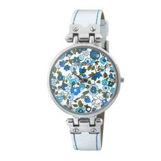 Armitron Women's 753963BLSVWT Swarovski Crystal NOW Silver-Tone Blue Floral Dial White Leather Strap Watch Armitron. $37.50. Silver-tone hour hands. White leather strap with blue contrast stitching. Sweep second hand. Round silver-tone case with swinging lugs. Blue floral dial with 12 Swarovski crystal hour markers